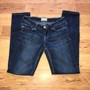 💕Bayla Skinny dark wash faded jeans sz 00